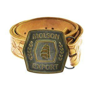 Vintage Molson Export Bottle Opener Leather Belt